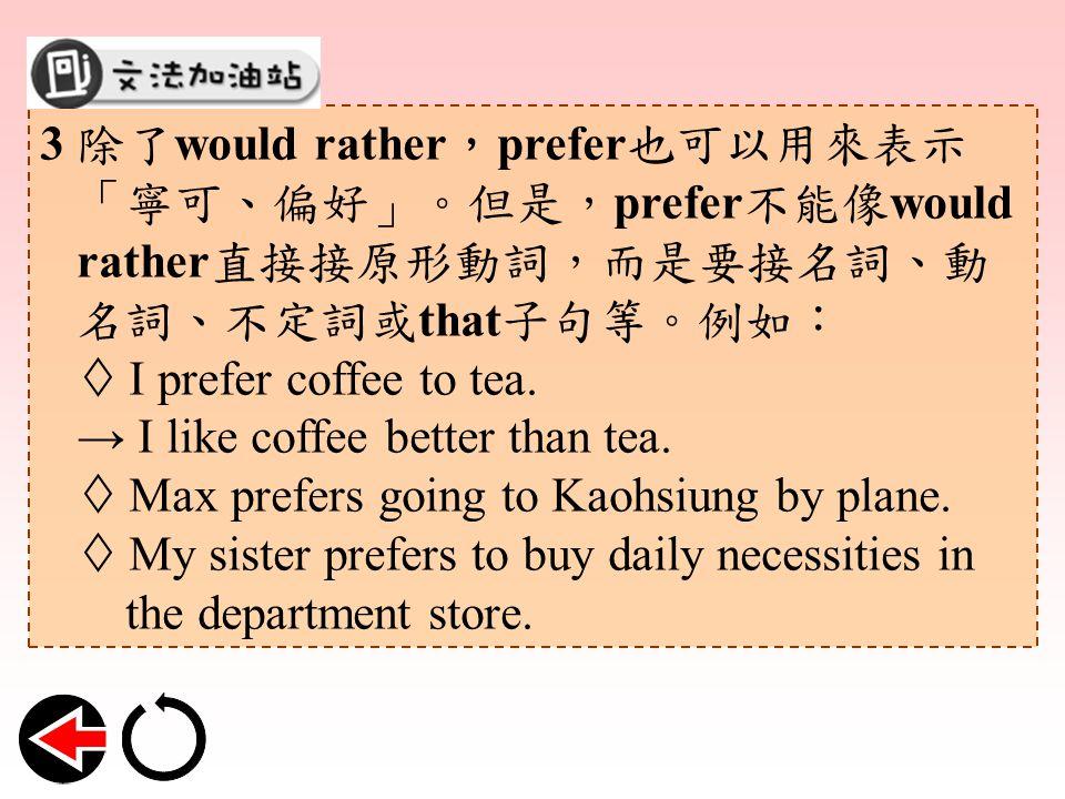 3 除了 would rather , prefer 也可以用來表示 「寧可、偏好」。但是, prefer 不能像 would rather 直接接原形動詞,而是要接名詞、動 名詞、不定詞或 that 子句等。例如:  I prefer coffee to tea.