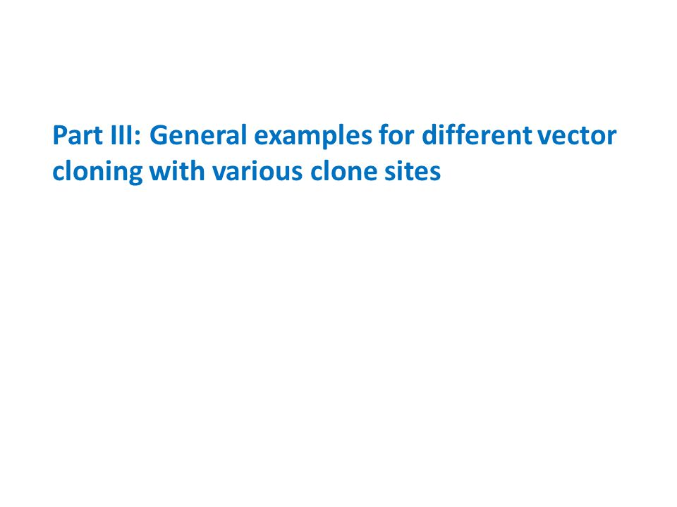 Part III: General examples for different vector cloning with various clone sites