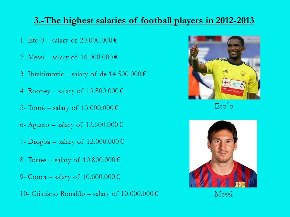 3.-The highest salaries of football players in 2012-2013 1- Eto'0 – salary of 20.000.000 € 2- Messi – salary of 16.000.000 € 3- Ibrahimovic – salary o