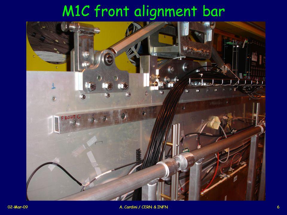 02-Mar-09A. Cardini / CERN & INFN6 M1C front alignment bar