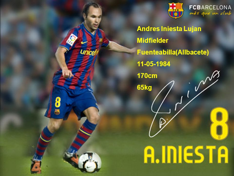 Andres Iniesta Lujan Midfielder Fuenteabilla(Allbacete) 11-05-1984 170cm 65kg