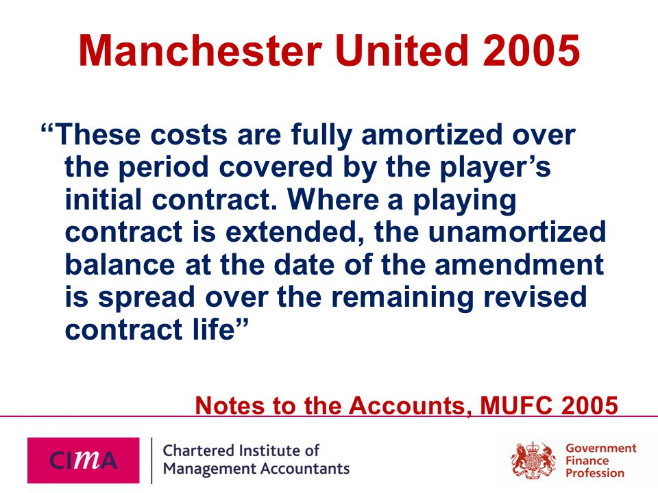 Manchester United 2005 These costs are fully amortized over the period covered by the player's initial contract.