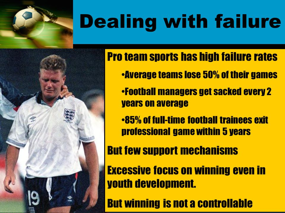 Dealing with failure Pro team sports has high failure rates Average teams lose 50% of their games Football managers get sacked every 2 years on average 85% of full-time football trainees exit professional game within 5 years But few support mechanisms Excessive focus on winning even in youth development.