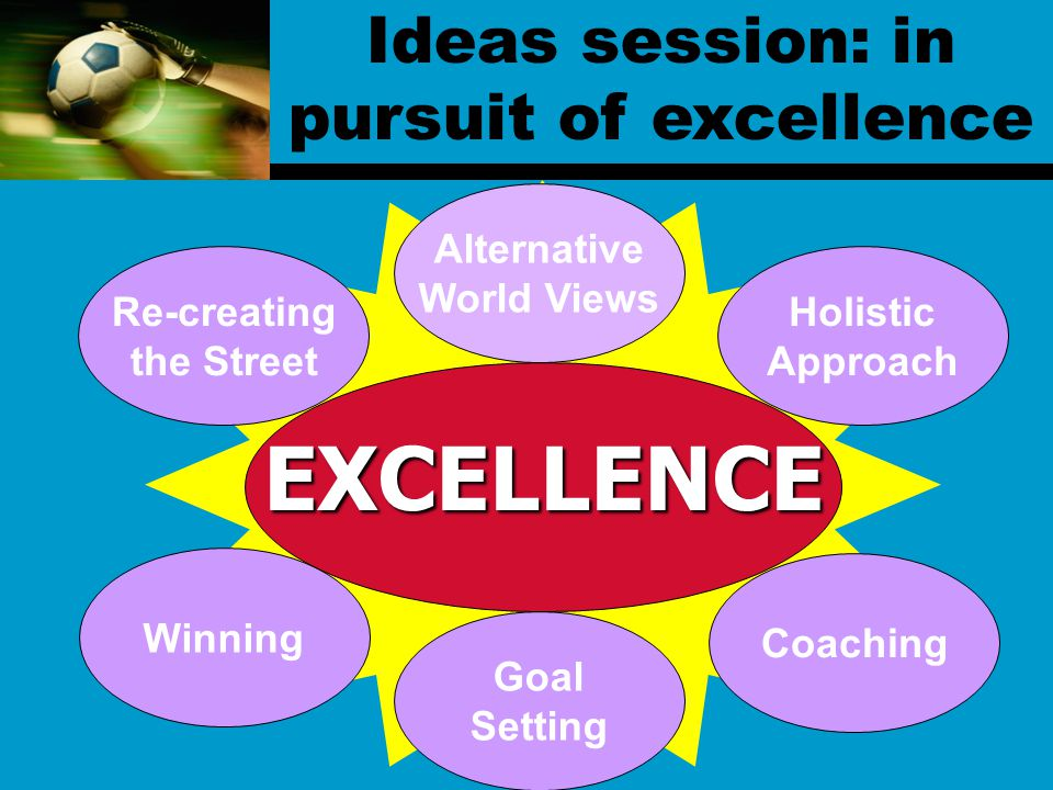 Goal Setting Coaching Winning Re-creating the Street Alternative World Views Holistic Approach EXCELLENCE Ideas session: in pursuit of excellence