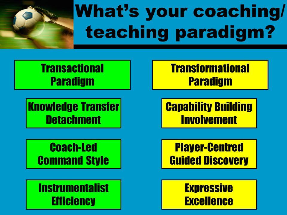 What's your coaching/ teaching paradigm.