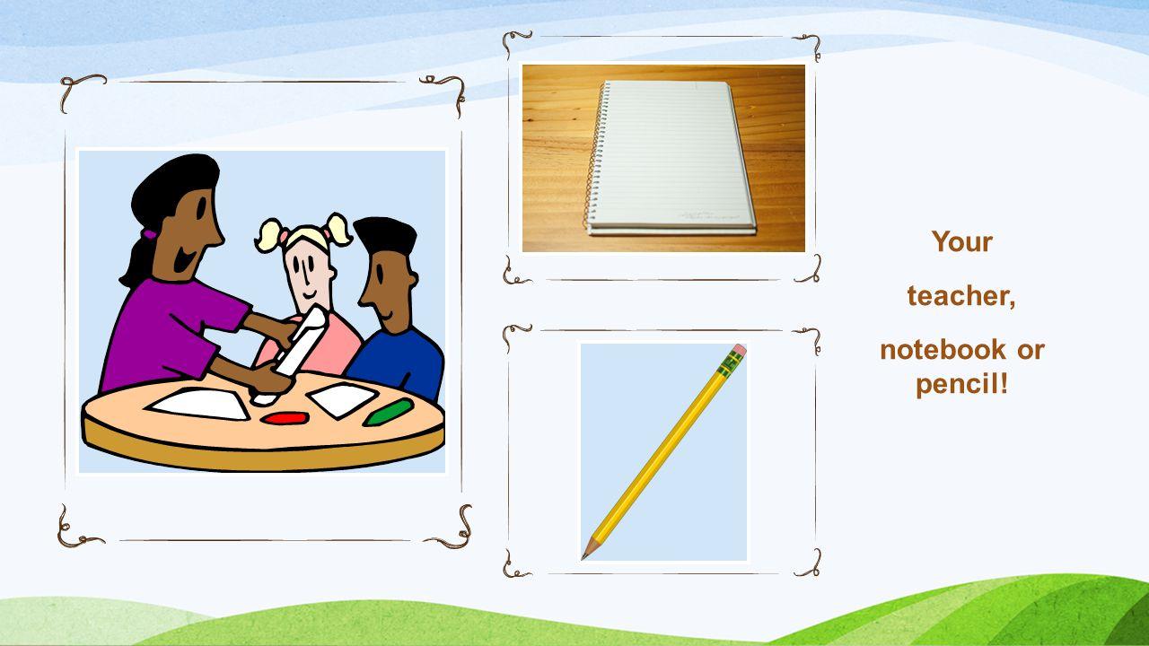 Your teacher, notebook or pencil!