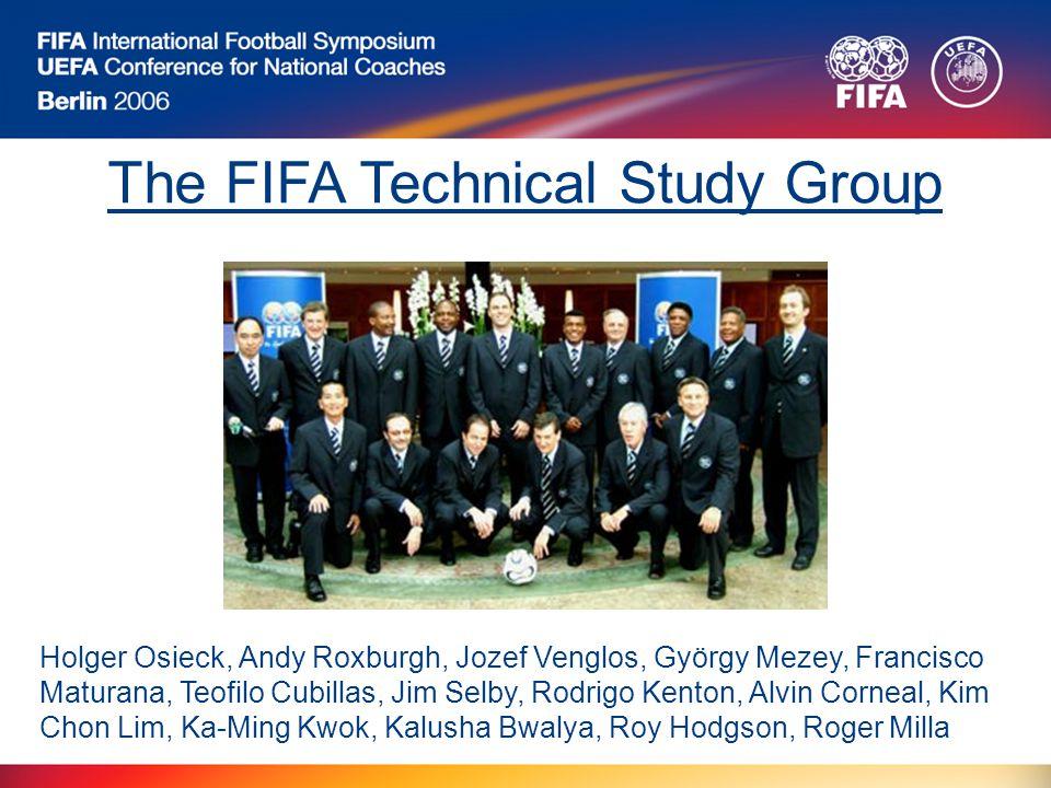 The FIFA Technical Study Group Holger Osieck, Andy Roxburgh, Jozef Venglos, György Mezey, Francisco Maturana, Teofilo Cubillas, Jim Selby, Rodrigo Kenton, Alvin Corneal, Kim Chon Lim, Ka-Ming Kwok, Kalusha Bwalya, Roy Hodgson, Roger Milla