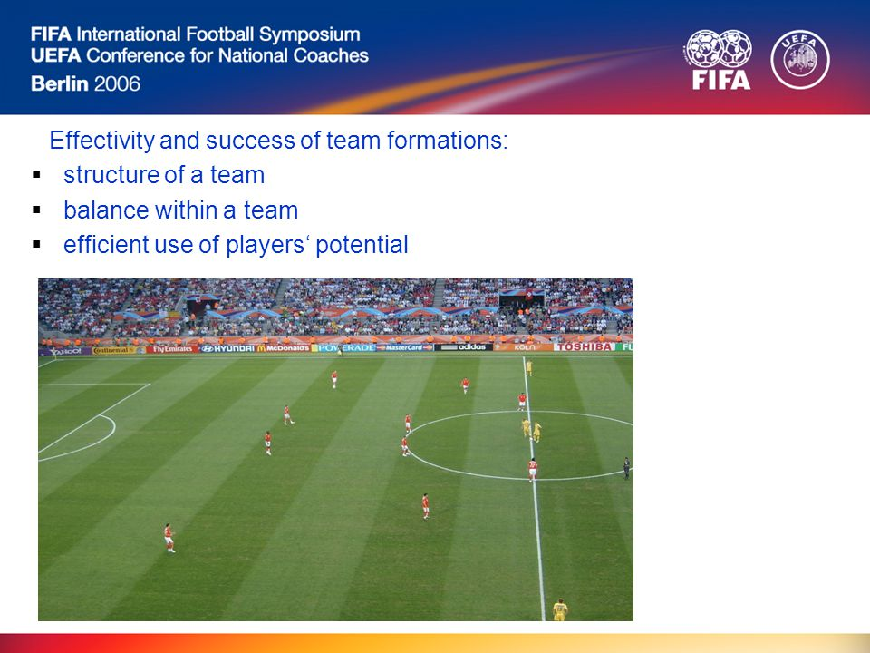 Effectivity and success of team formations:  structure of a team  balance within a team  efficient use of players' potential