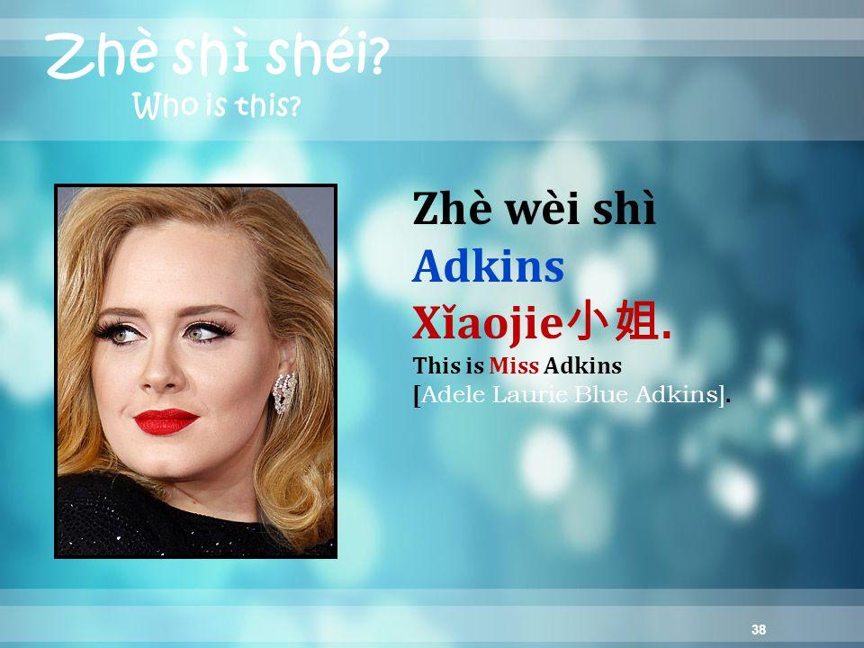 38 Zhè shì shéi. Who is this. Zhè wèi shì Adkins Xǐaojie 小姐.