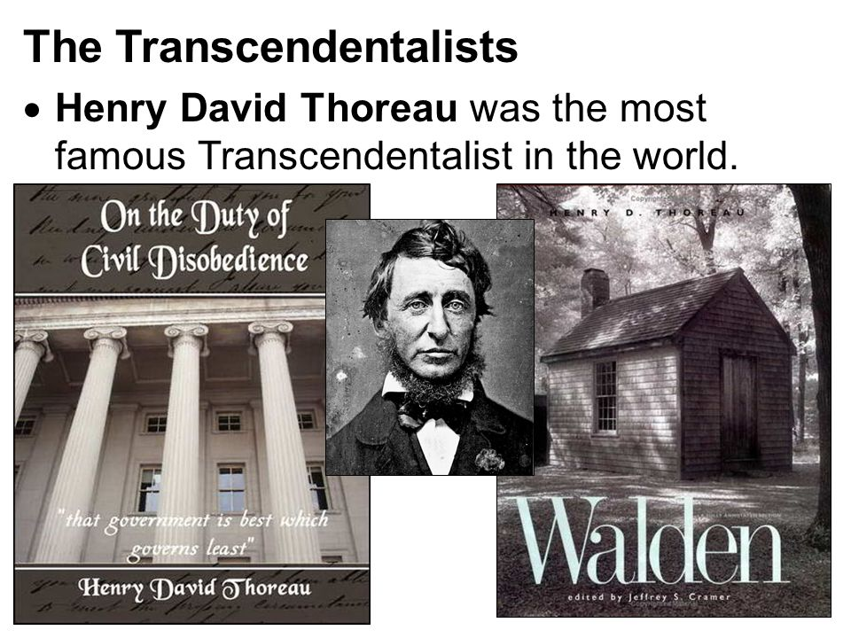 The Transcendentalists  Henry David Thoreau was the most famous Transcendentalist in the world.