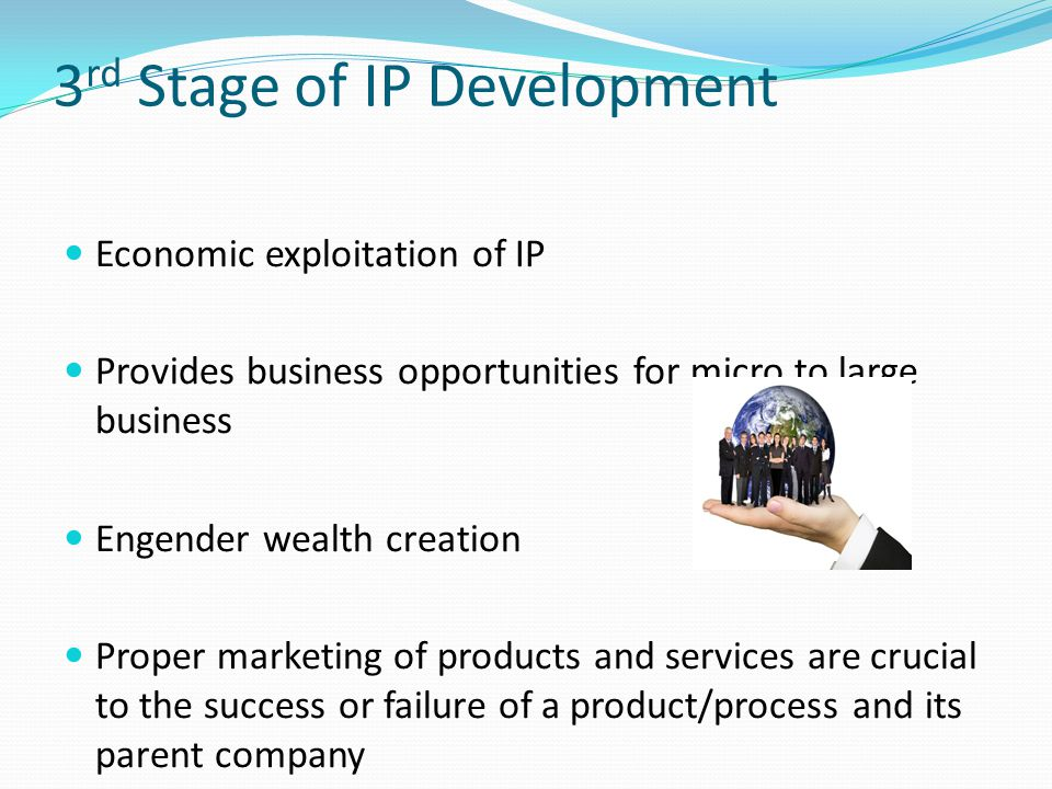 3 rd Stage of IP Development Economic exploitation of IP Provides business opportunities for micro to large business Engender wealth creation Proper m