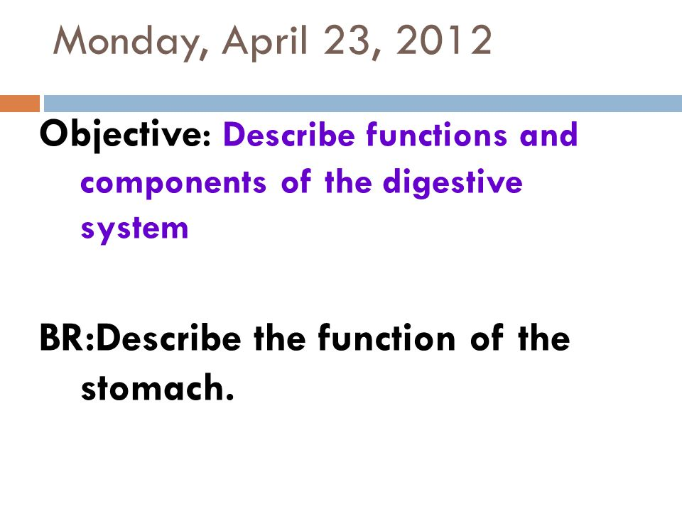 Monday, April 23, 2012 Objective : Describe functions and components of the digestive system BR:Describe the function of the stomach.