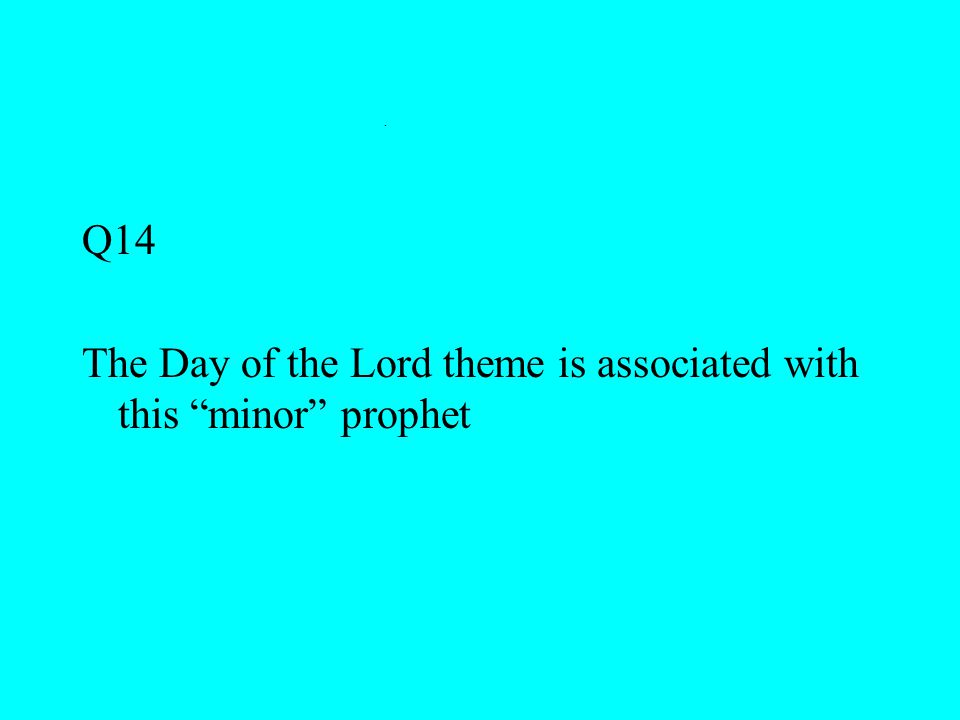 """. Q14 The Day of the Lord theme is associated with this """"minor"""" prophet"""