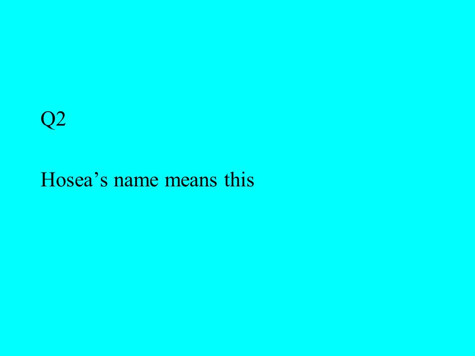 Q2 Hosea's name means this