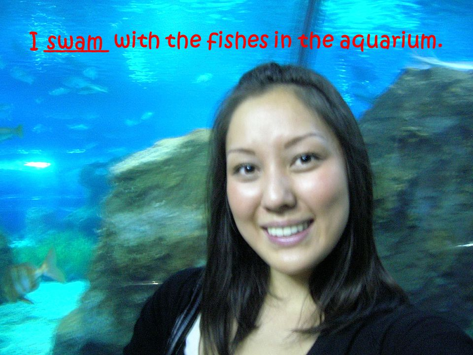 I ______ with the fishes in the aquarium. swam