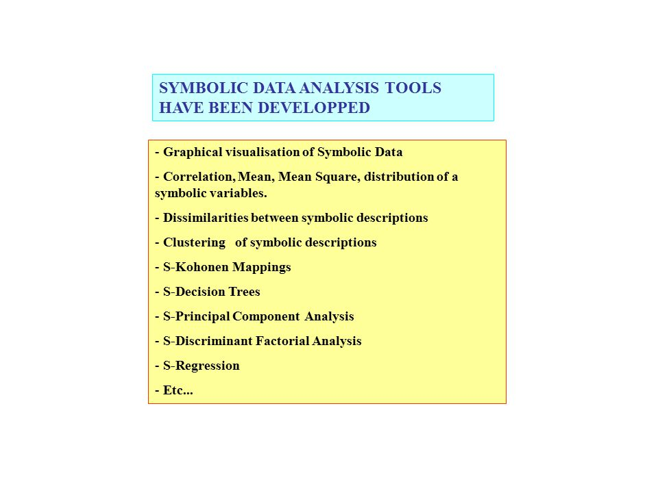 - Graphical visualisation of Symbolic Data - Correlation, Mean, Mean Square, distribution of a symbolic variables. - Dissimilarities between symbolic