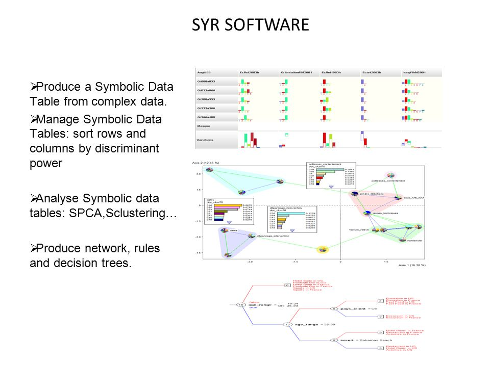  Produce a Symbolic Data Table from complex data.  Manage Symbolic Data Tables: sort rows and columns by discriminant power  Analyse Symbolic data