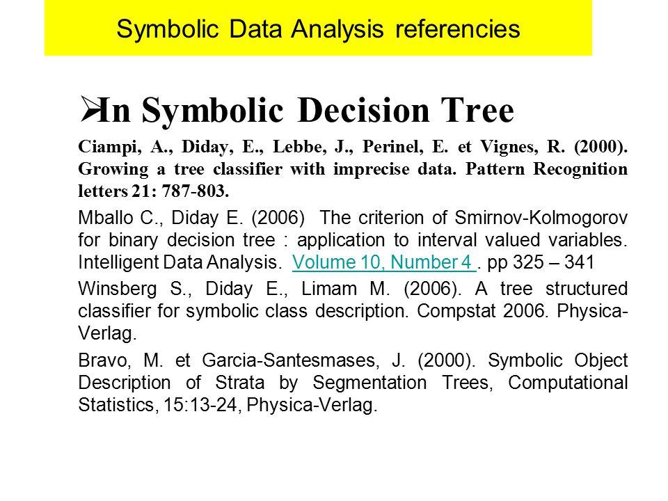 Symbolic Data Analysis referencies  In Symbolic Decision Tree Ciampi, A., Diday, E., Lebbe, J., Perinel, E.