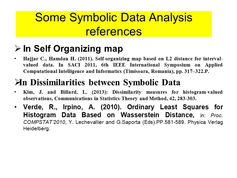  In Self Organizing map Hajjar C., Hamdan H. (2011). Self-organizing map based on L2 distance for interval- valued data. In SACI 2011, 6th IEEE Inter