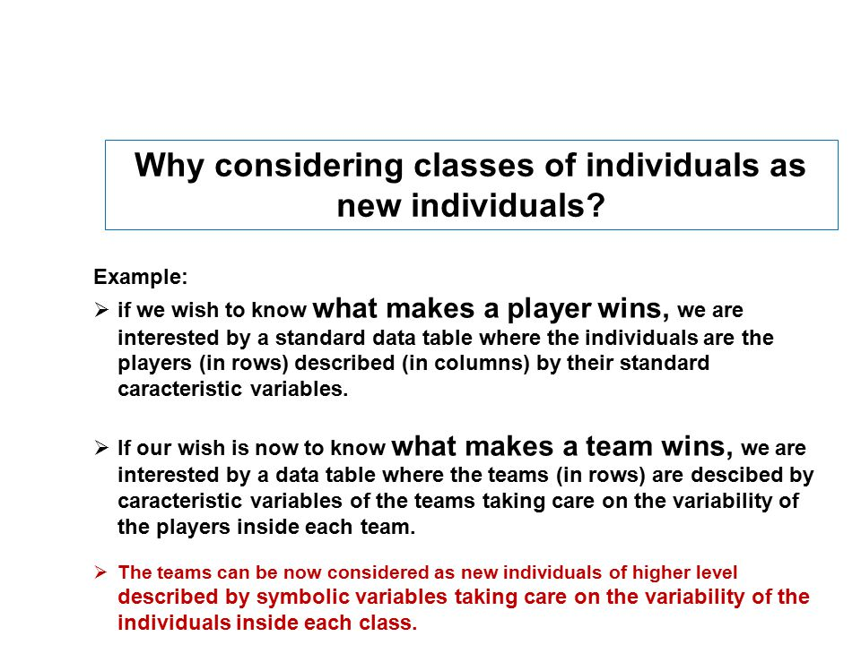 Why considering classes of individuals as new individuals.