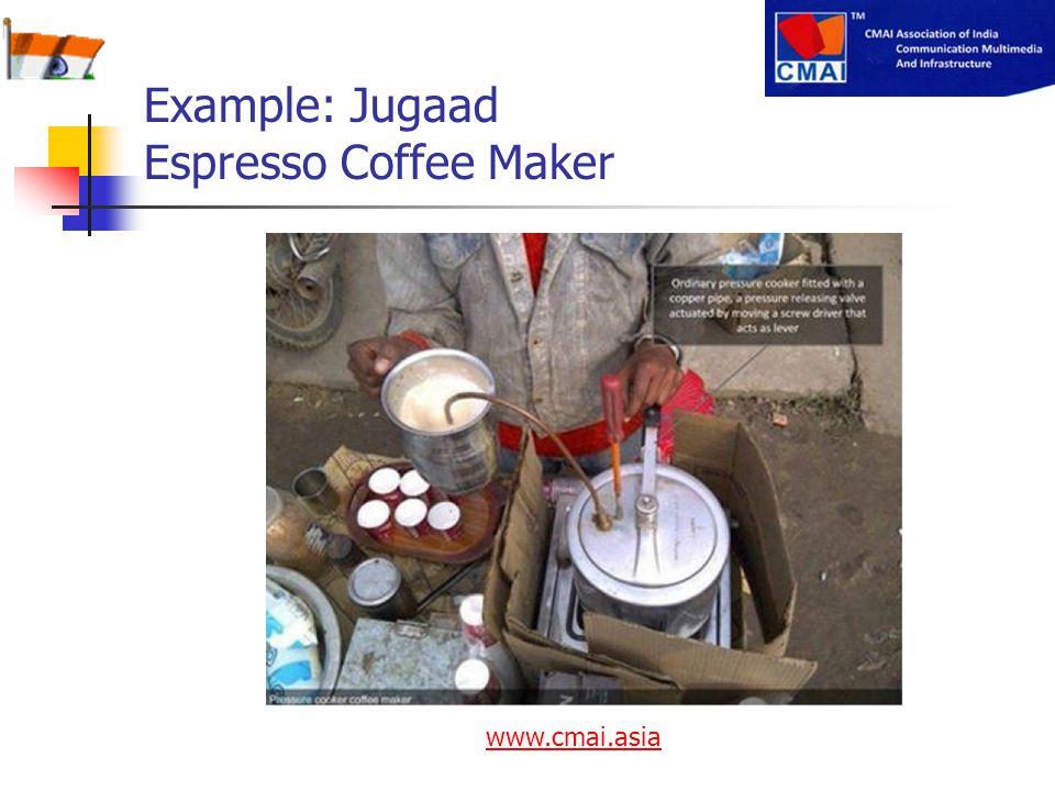Example: Jugaad Espresso Coffee Maker www.cmai.asia