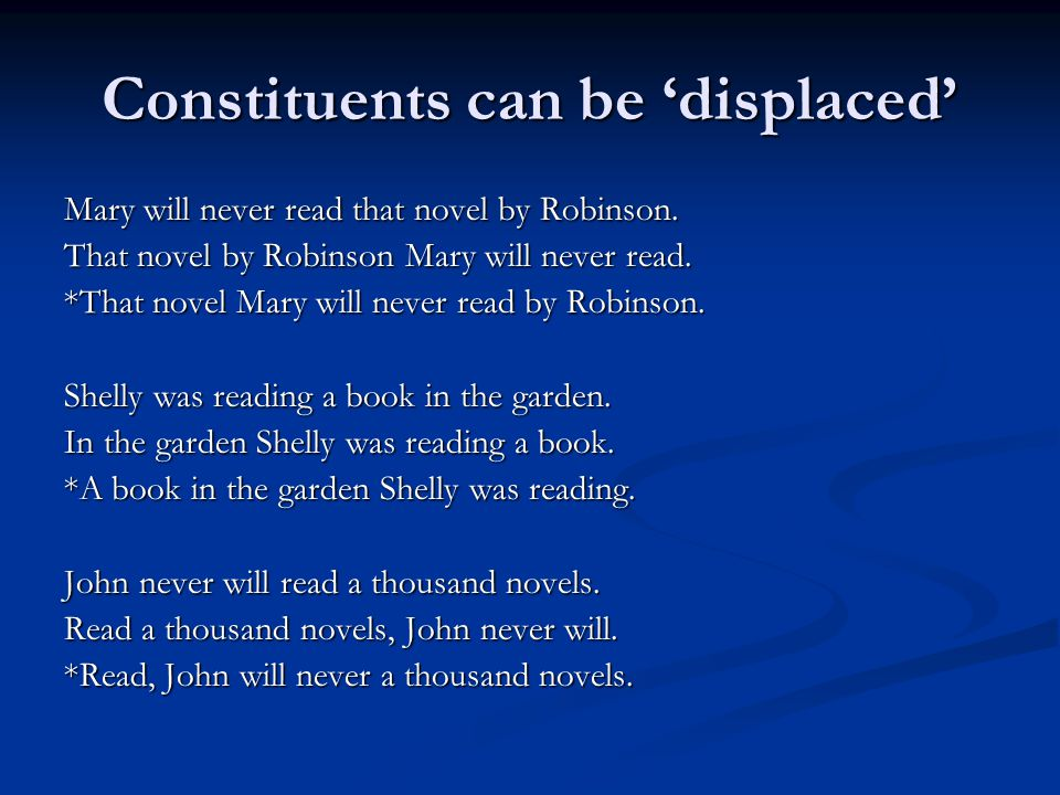 Constituents can be 'displaced' Mary will never read that novel by Robinson.
