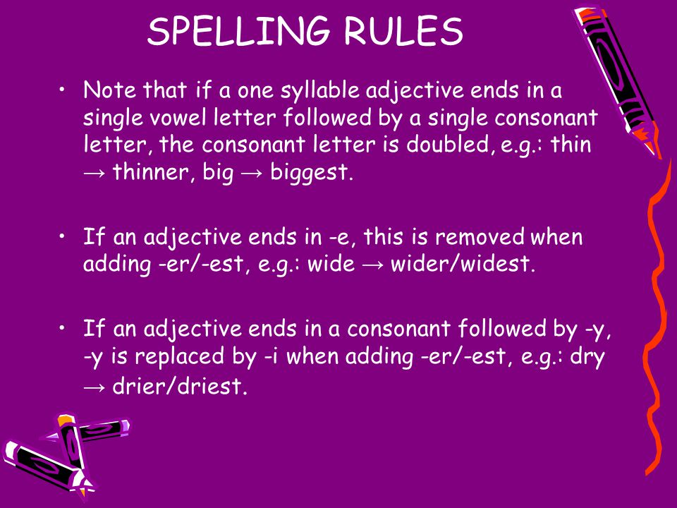 SPELLING RULES Note that if a one syllable adjective ends in a single vowel letter followed by a single consonant letter, the consonant letter is doub