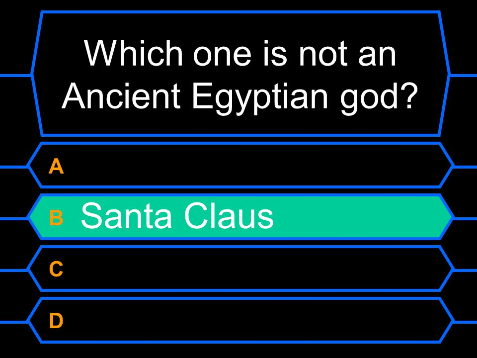 Which one is not an Ancient Egyptian god A Isis B Santa Claus C Horus D Anubis