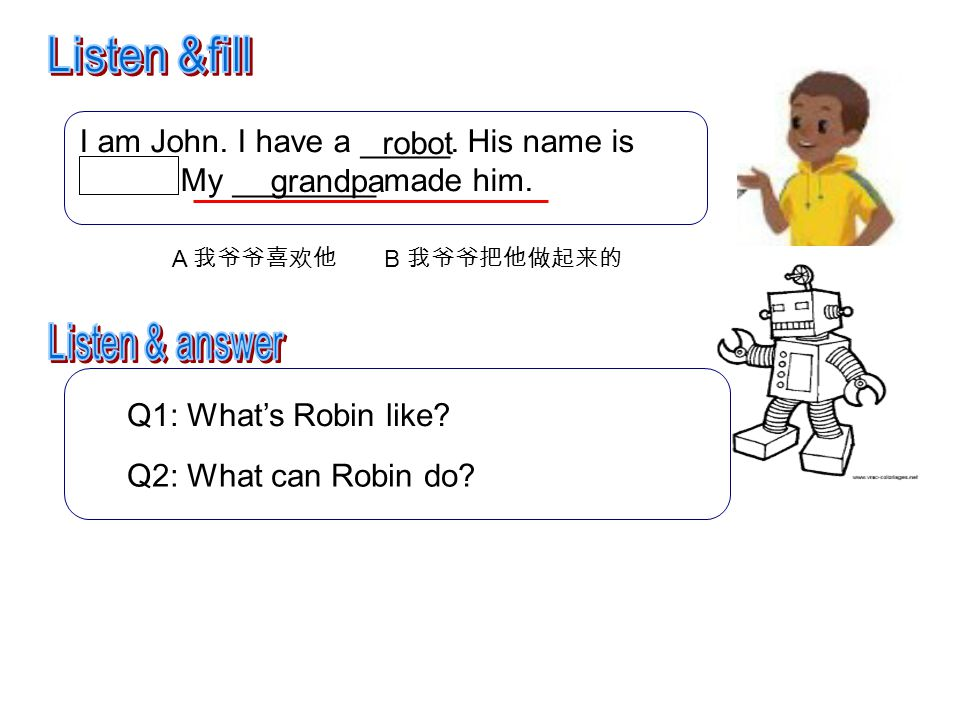 I am John.I have a robot. His name is Robin. My grandpa made him.