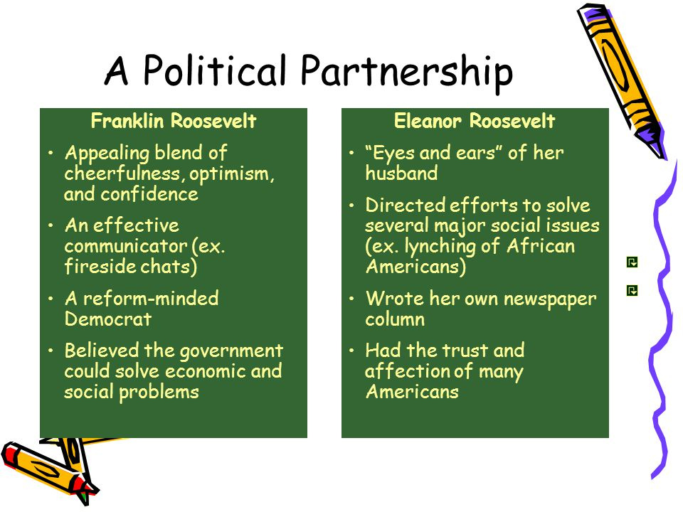 A Political Partnership Franklin Roosevelt Appealing blend of cheerfulness, optimism, and confidence An effective communicator (ex.