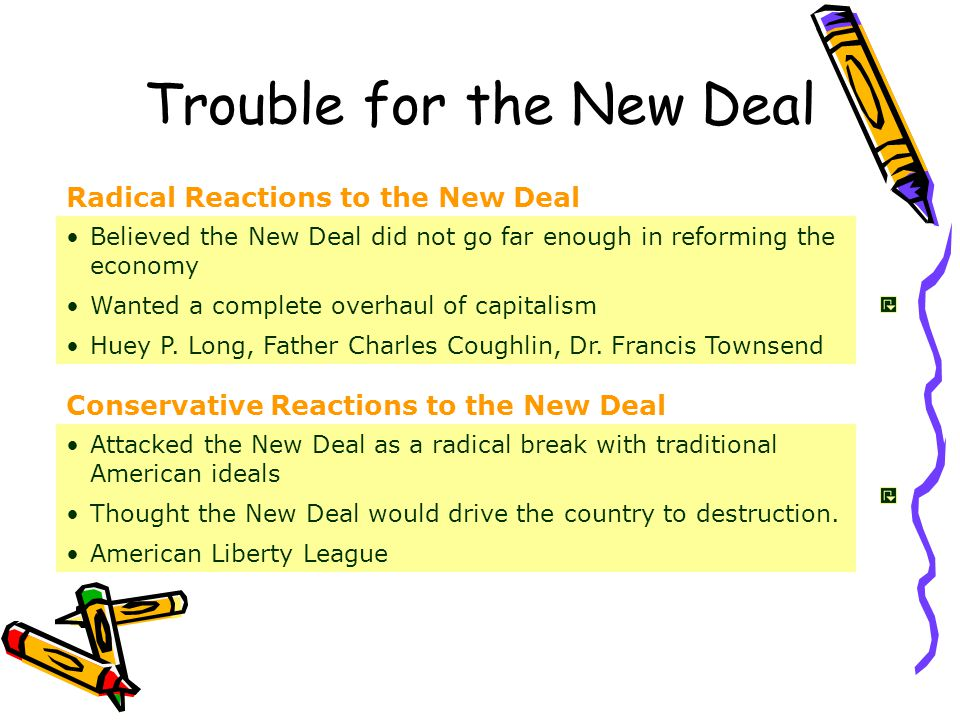 Radical Reactions to the New Deal Conservative Reactions to the New Deal Believed the New Deal did not go far enough in reforming the economy Wanted a complete overhaul of capitalism Huey P.