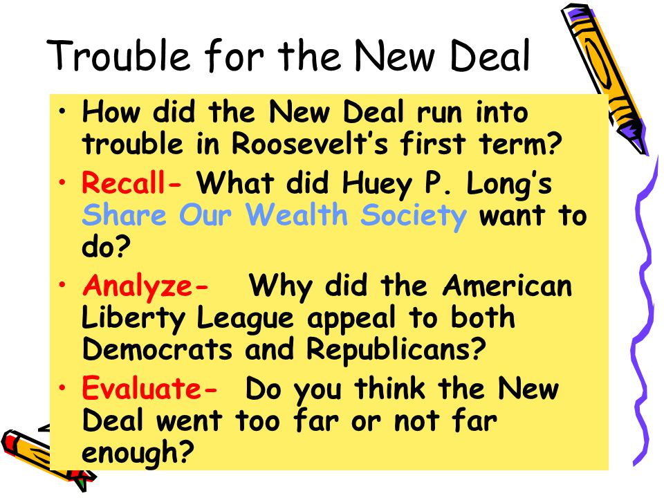 Trouble for the New Deal How did the New Deal run into trouble in Roosevelt's first term.