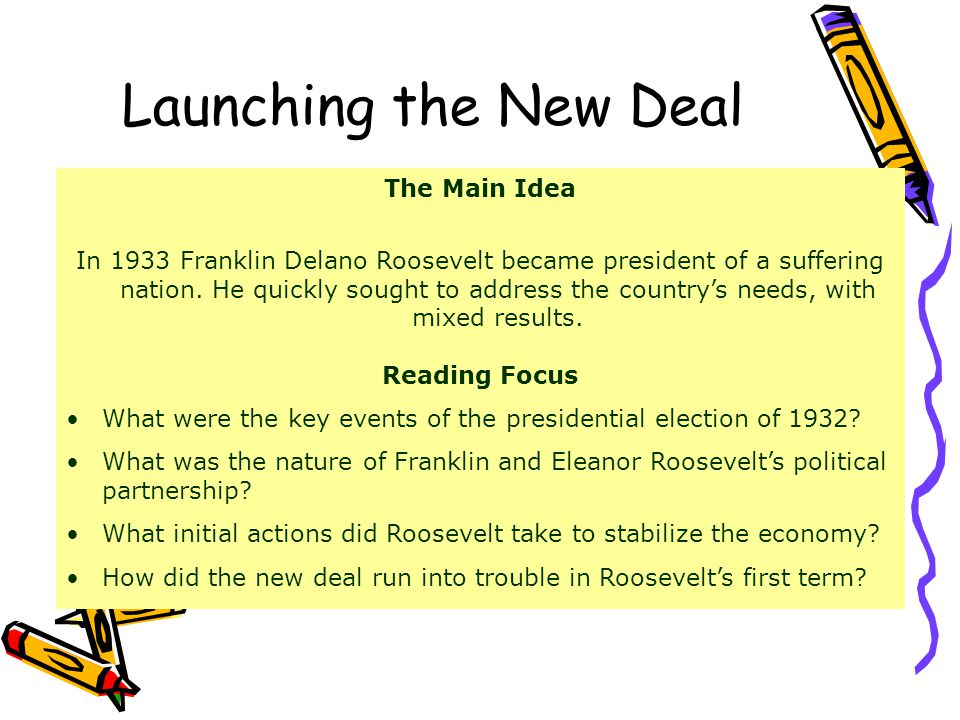 Launching the New Deal The Main Idea In 1933 Franklin Delano Roosevelt became president of a suffering nation.