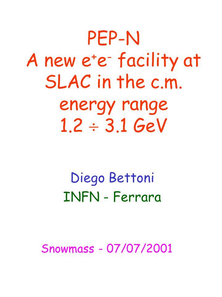 PEP-N A new e + e - facility at SLAC in the c.m.