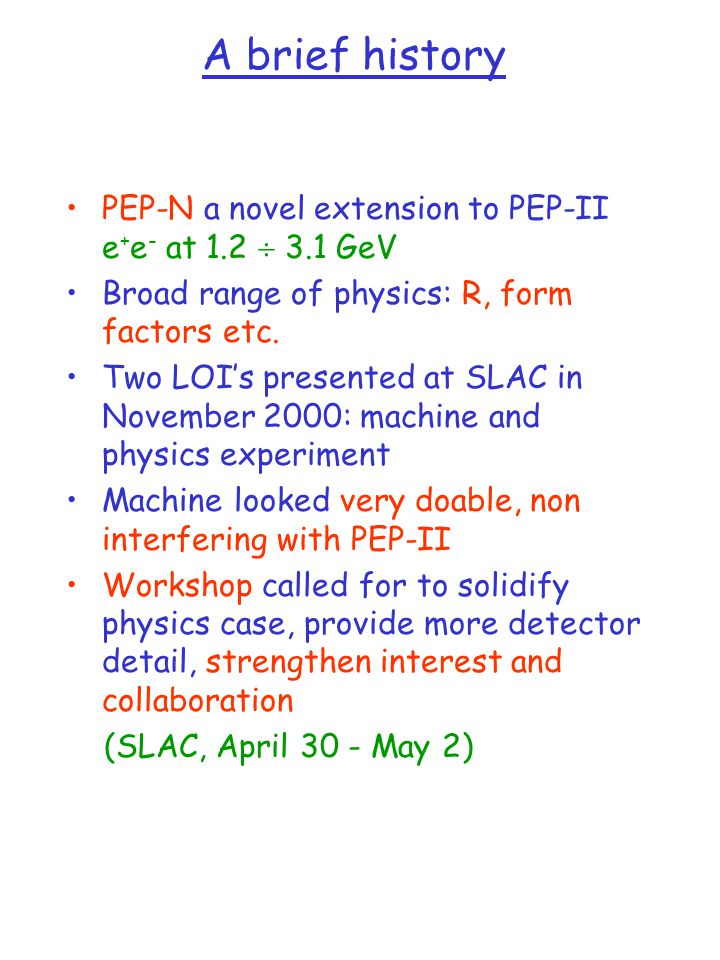 A brief history PEP-N a novel extension to PEP-II e + e - at 1.2  3.1 GeV Broad range of physics: R, form factors etc.