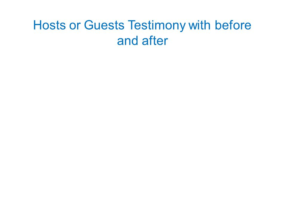 Hosts or Guests Testimony with before and after