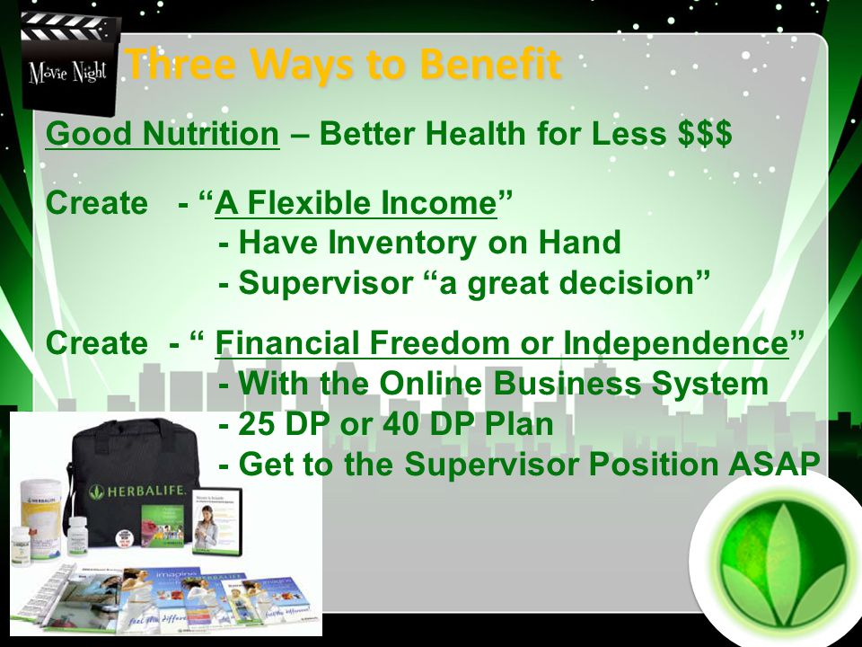 Three Ways to Benefit Good Nutrition – Better Health for Less $$$ Create - A Flexible Income - Have Inventory on Hand - Supervisor a great decision Create - Financial Freedom or Independence - With the Online Business System - 25 DP or 40 DP Plan - Get to the Supervisor Position ASAP