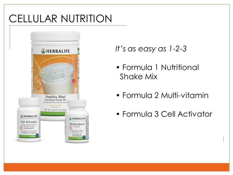 It's as easy as 1-2-3 Formula 1 Nutritional Shake Mix Formula 2 Multi-vitamin Formula 3 Cell Activator