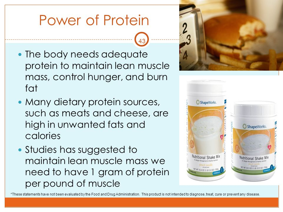 43 Power of Protein The body needs adequate protein to maintain lean muscle mass, control hunger, and burn fat Many dietary protein sources, such as m