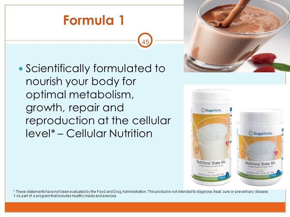 45 Formula 1 Scientifically formulated to nourish your body for optimal metabolism, growth, repair and reproduction at the cellular level* – Cellular