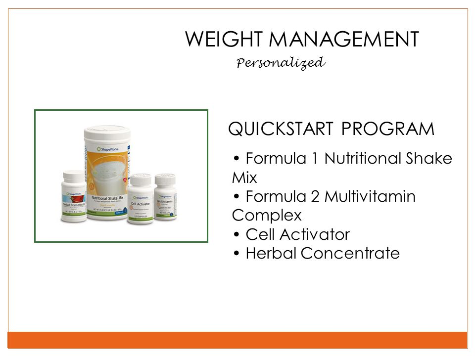 WEIGHT MANAGEMENT Personalized QUICKSTART PROGRAM Formula 1 Nutritional Shake Mix Formula 2 Multivitamin Complex Cell Activator Herbal Concentrate