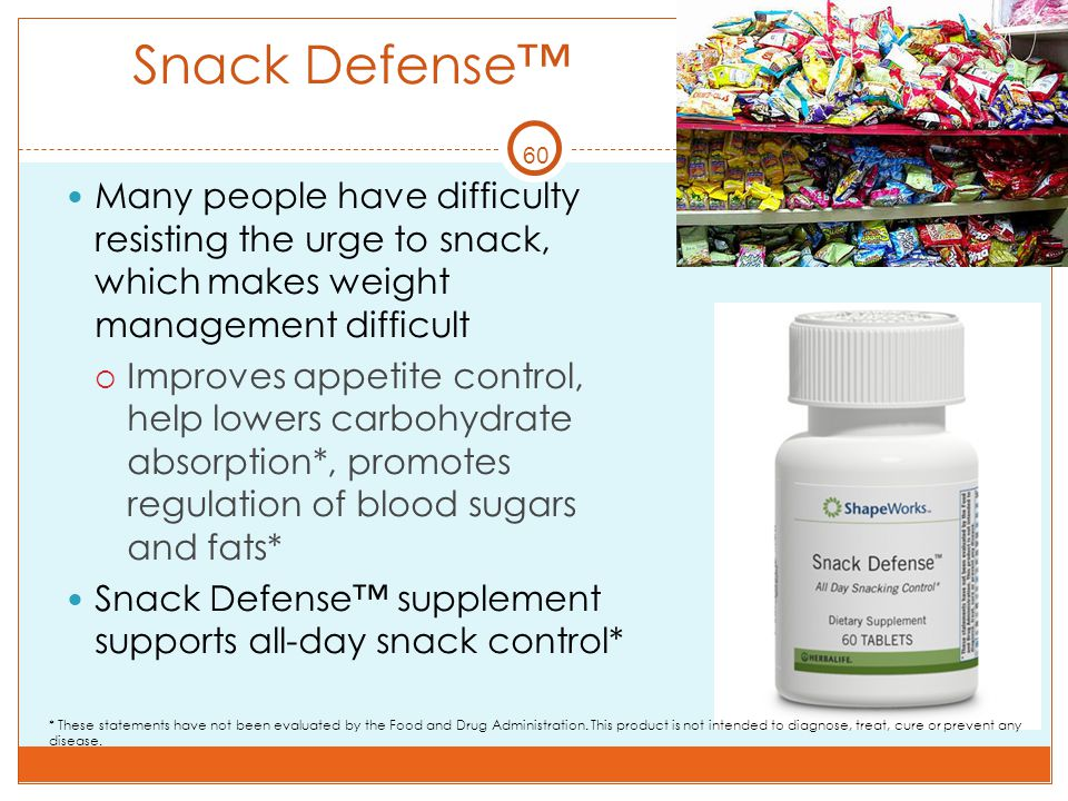 60 Snack Defense™ Many people have difficulty resisting the urge to snack, which makes weight management difficult  Improves appetite control, help l
