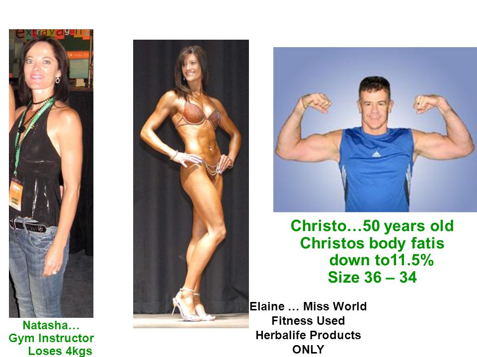 Christo…50 years old Christos body fatis down to11.5% Size 36 – 34 Natasha… Gym Instructor Loses 4kgs Elaine … Miss World Fitness Used Herbalife Products ONLY