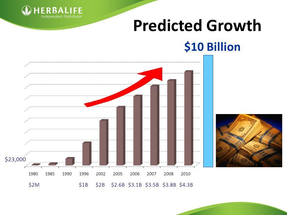 Predicted Growth $1B$2B$2.6B$2M$3.1B$3.5B$3.8B$4.3B 1980198519901996200220052006200720082010 $23,000 $10 Billion