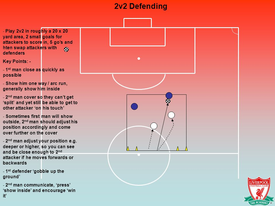 2v2 Defending - Play 2v2 in roughly a 20 x 20 yard area, 2 small goals for attackers to score in, 5 go's and hten swap attackers with defenders Key Points: - - 1 st man close as quickly as possible - Show him one way / arc run, generally show him inside - 2 nd man cover so they can't get 'split' and yet still be able to get to other attacker 'on his touch' - Sometimes first man will show outside, 2 nd man should adjust his position accordingly and come over further on the cover - 2 nd man adjust your position e.g.