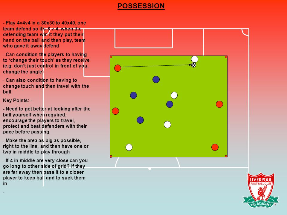 POSSESSION - Play 4v4v4 in a 30x30 to 40x40, one team defend so it's 8 v 4, when the defending team win it they put their hand on the ball and then play, team who gave it away defend - Can condition the players to having to 'change their touch' as they receive (e.g.