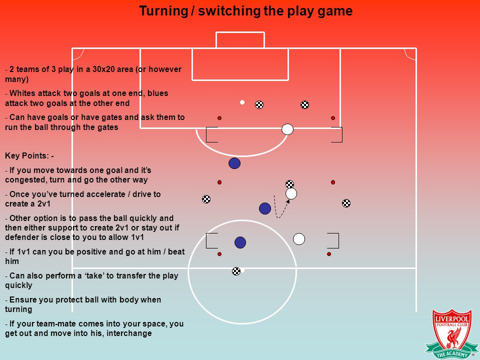 Turning / switching the play game - 2 teams of 3 play in a 30x20 area (or however many) - Whites attack two goals at one end, blues attack two goals at the other end - Can have goals or have gates and ask them to run the ball through the gates Key Points: - - If you move towards one goal and it's congested, turn and go the other way - Once you've turned accelerate / drive to create a 2v1 - Other option is to pass the ball quickly and then either support to create 2v1 or stay out if defender is close to you to allow 1v1 - If 1v1 can you be positive and go at him / beat him - Can also perform a 'take' to transfer the play quickly - Ensure you protect ball with body when turning - If your team-mate comes into your space, you get out and move into his, interchange