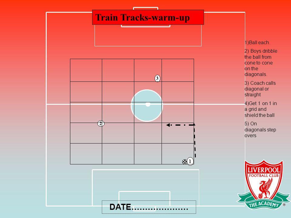 Train Tracks-warm-up 3 2 1 1)Ball each.