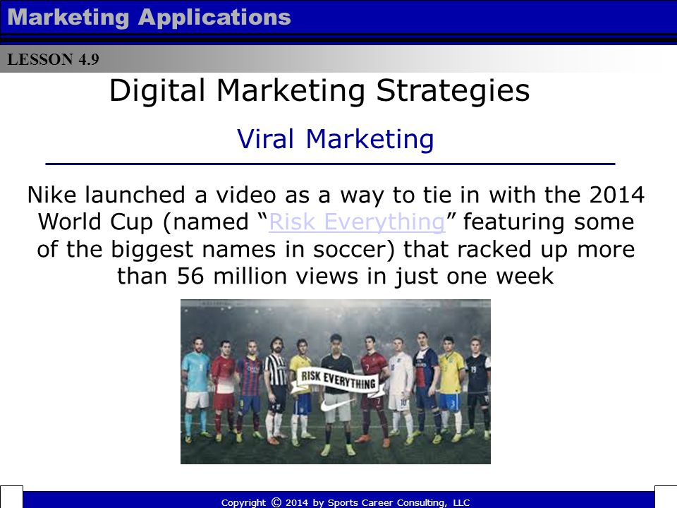 LESSON 4.9 Marketing Applications Less than 24 hours after posting to YouTube, the Miami Heat's version of the Harlem Shake racked up more than 2 million views, ultimately amassing more than 1 billion views in just 40 days Copyright © 2014 by Sports Career Consulting, LLC Digital Marketing Strategies Viral Marketing