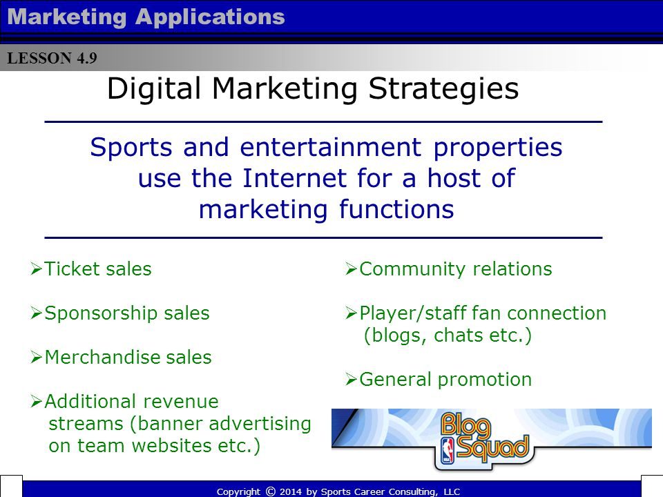 LESSON 4.9 Marketing Applications Copyright © 2014 by Sports Career Consulting, LLC The Lakewood BlueClaws Baseball Club uses the Internet (specifically eBay and Craigslist) to sell available luxury suite and premium seat inventory.